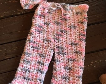 Baby Hat, Crochet Hat, Infant Girls Pink Variegated Crochet Pants and hat