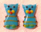 Kitty Cat Lampwork Glass Focal Beads - 23mm x 12mm - Set of TWO ~ Assorted Colors