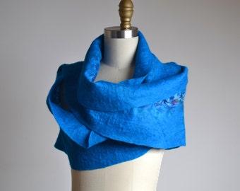 Nuno Felted Scarf - Blue Felted Scarf - Merino Wool Felted Scarf - Merino Wool Silk Scarf - Spring Scarf