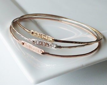 Three Personalized Bar Bangles - ID Bracelets - Tri Colored Stacking Bangles - Layering Jewelry - Mixed Metal Bangles