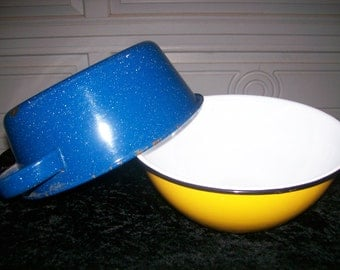 Enamel Ware Pan and Bowl,  Set of 2