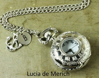 Anchor pocket watch necklace - initial nautical watch necklace