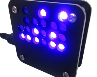 Binary Clock in Black Matte Case USB Powered Blue Lights (As Kit or Assembled)