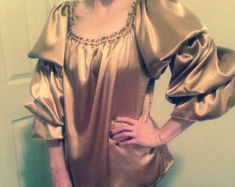 Gold Satin Pirate Style Blouse-length Chemise ready to ship Cosplay Steampunk ships fast!