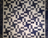 Navy Blue Batik and Ivory Quilt, Wall Hanging, Lap Quilt, Throw Blanket