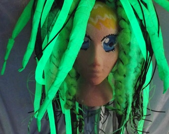 Cyber Falls Dreads, neon green and black