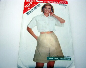 Butterick 6177 Pattern 1980's shorts and shirt Size 12 -16 1988 Vintage