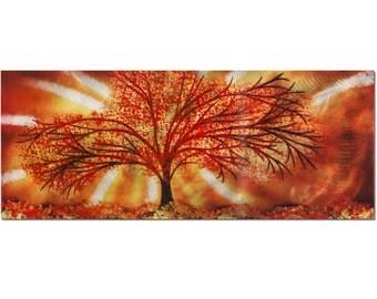 """Seasons of Change"""" 48x19 in. - Large Abstract Landscape - Red Tree Painting w/ Orange Colors - Fiery Autumn Modern Design"""