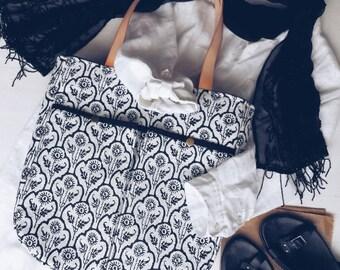 Black White Boho Shoulder Bag , Large Tote , Natural Cotton Bag