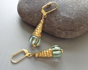 Hammered Gold Lampwork Earrings Green Glass Earrings