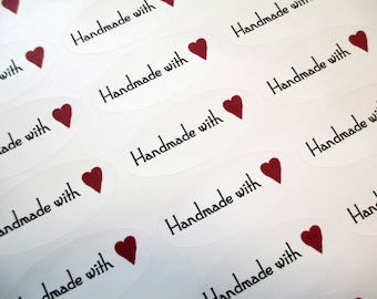 """Handmade Stickers, Handmade With Love Stickers, 27 Stickers, 2-1/4"""" x 1"""" Oval Peel and Stick, Vintage Inspired"""
