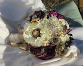 JENNA - Ivory / Purple Jeweled Bouquet - JENNA