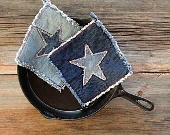 Denim Star Potholders - Blue Jeans Pot Holders - The Best Potholders Ever