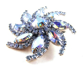 Rhinestone Brooch Silvery Blue Aurora Borealis Pinwheel Flower Mirror Finish Classic Beauty