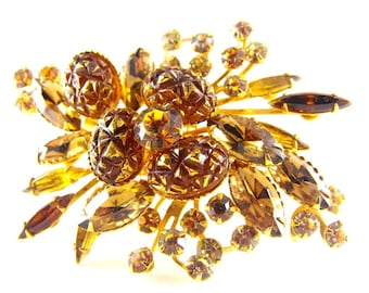 Rhinestone Brooch Beau Jewels Style Floral Spray Golden Glow Painted Lava Glass Skinny Navettes A Beauty