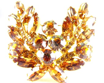 Juliana Jewelry Brooch Topaz Golden Watermelon Tourmaline Rhinestones
