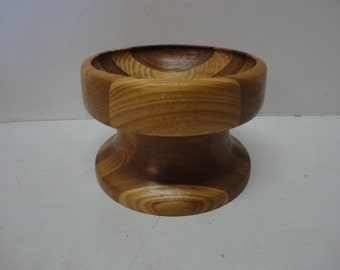 Homemade Wooden Two Tone Candy or Fruit or Nut Bowl Footed