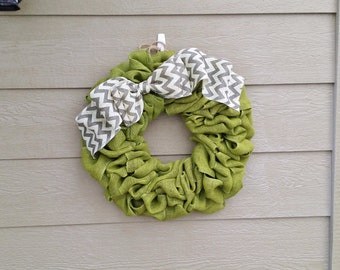 Burlap Wreath Avocado with Grey and White Chevron Bow - Approx. 24 inches!