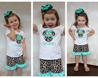 Safari Minnie Applique Tee and Ruffle Shorts//Headband or Bow INCLUDED//LOTS of Sizes