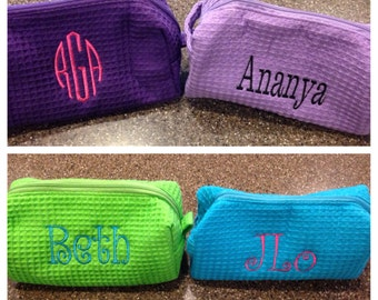Personalized Monogrammed Waffle Weave Small Cosmetic Bag--ONE