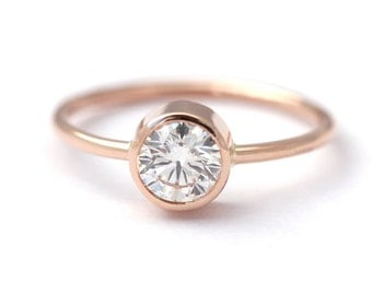 Rose Gold Diamond Engagement Ring - Solitaire Engagement Ring - 0.5 Carat Diamond Ring - 18k Gold
