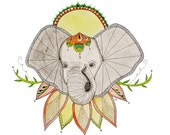 Elephant - 8 x 10 Fine Art Giclee Print - Lotus - African Elephant - Mandla - Sugar Skull - Nature - Sun -Ink - Mothers Day
