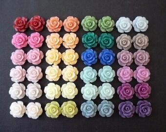 "48 pcs Resin Flower Cabochons - 13.5mm Camellia Flowers - ""Chiffon Finish"" (Semi-Translucent Style)"