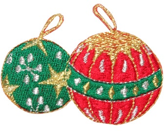 ID #8215A Metallic Thread Christmas Tree Ornament Pair Iron On Applique Patch