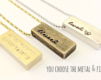 Raw Brass Gold or Silver Bar Necklace Personalized Hand Stamped -Custom Name Word Date Initials -Trendy Coordinates Bar - Vintage Rustic