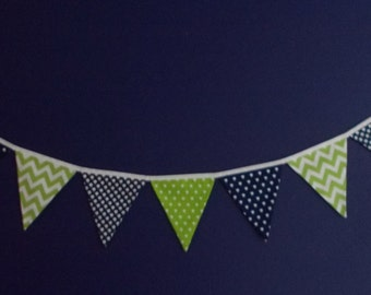 Fabric Banner- Navy and Lime Green
