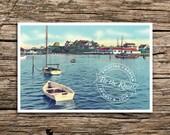 New England Harbor Save the Date Postcard // Cape Cod Save the Date Vintage New England Post Card Yacht Club Wedding Anchor Marthas Vineyard