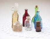 Instant Collection of Mini Vintage Bottles, Green, Brown, Amber, Red