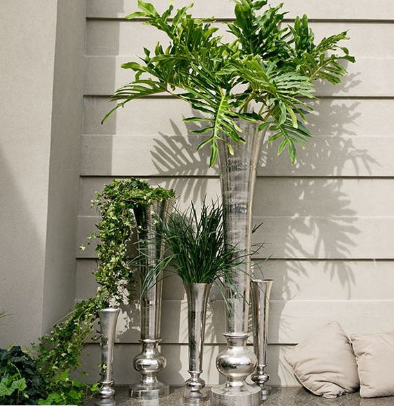 Extra Tall Centerpiece Vases : Items similar to extra tall vase large metal silver