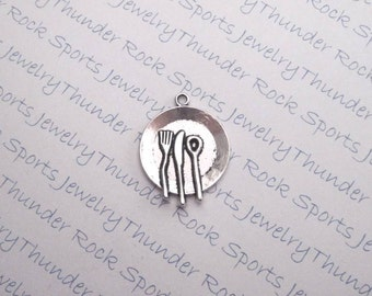 4 Antique Silver Plate Knife Fork Spoon Charms Tableware Cooking Pendants