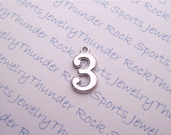 Antique Silver Number 3 Charm Pendant Numeral Three