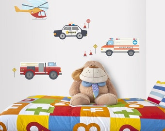 Emergency Cars Printed Wall Decal - Kids Room Wall Decor, Repositionable Wall Decal, Police Car Decal, Ambulance Sticker, Fire Truck Decal