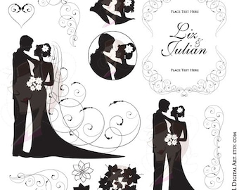 Wedding Silhouette Clipart Bride And Groom Illustration Jpeg Jpg Png Files DIY Invitations Flourish Border Corners Digital Swirl Frame 10621