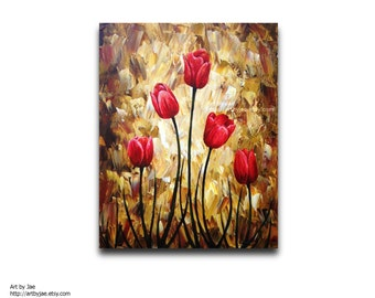 Modern Painting Red Tulips Modern Realistic Painting