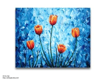 Orange Tulips Painting Acrylic Large Wall Art 24x30