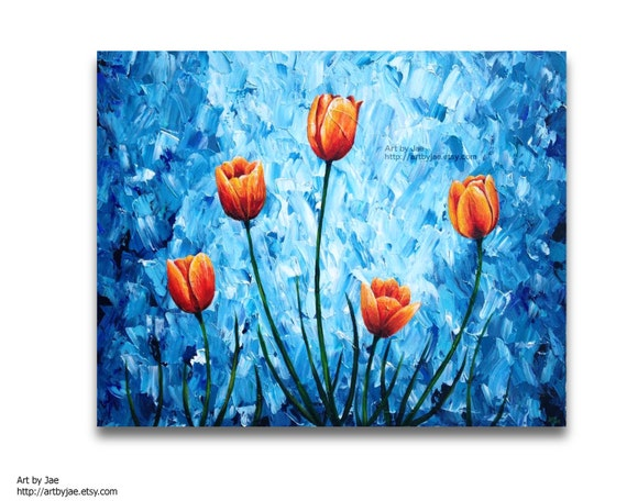 Items similar to orange tulips painting acrylic large wall for Acrylic mural painting techniques