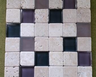 Trivet: Travertine Stone and Purple Glass Tile