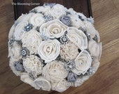 Brooch Bouquet, Wedding Bouquet, Sola wood Bouquet, Bouquet, Alternative Bouquet, Ready to ship Bouquet, Sola flowers, Wood Bouquet
