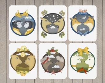 cute postcard set, postcard collection, romantic card set, animal art postcards, animal couples, children, nursery art print, love art print