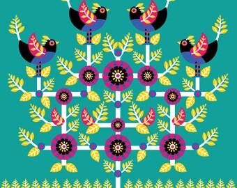 Folkart Bird Tree Illustration