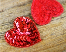 Red Sequin Heart Applique (1 piece) - Head Piece, Apparel, Valentines Day, Dance, Skating, Burlesque, Costume, Paper Craft, Baby Headband