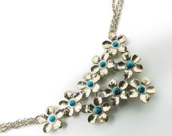 Flowers Necklace sterling silver 925 with Turquoise stones