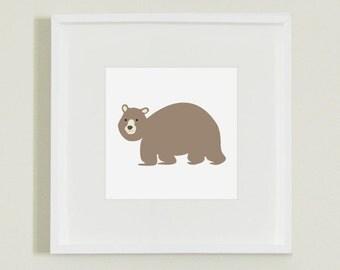 Brown Bear Woodland Animal Illustration Print for Nursery, Playroom or Children's Room