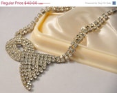 ON SALE Vintage ART Deco style Rhinestone Necklace - Absolutely Stunning