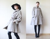 CINZIA ROCCA beige grey baby alpaca wool drop shoulder trapeze coat