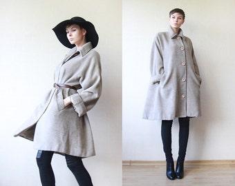 CINZIA ROCCA beige grey baby alpaca wool drop shoulder trapeze coat